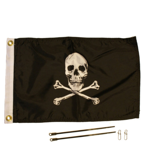 Mouse over to zoom an area or click here for Hi-Res image of YakAttack Jolly Roger 12'' x 18'' Flag Kit
