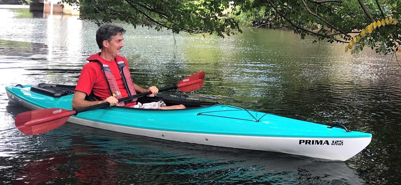 Phil paddling the Hurricane Prima 12.5 Sport Kayak